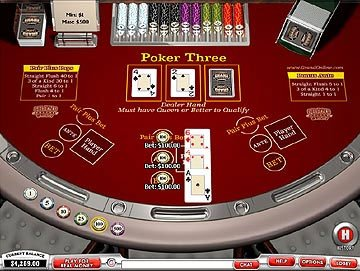 Screenshot of Playtech's 3 card poker (Poker Three)