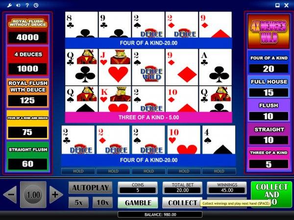 Deuces Wild Multi Hand Video Poker at Casino.com CA