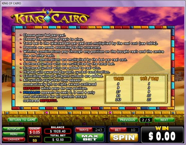 King of Cairo Slots Free Games