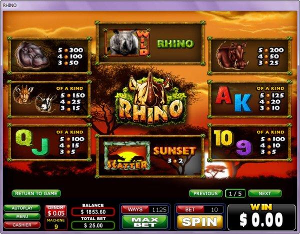 Rhino Slots Pays