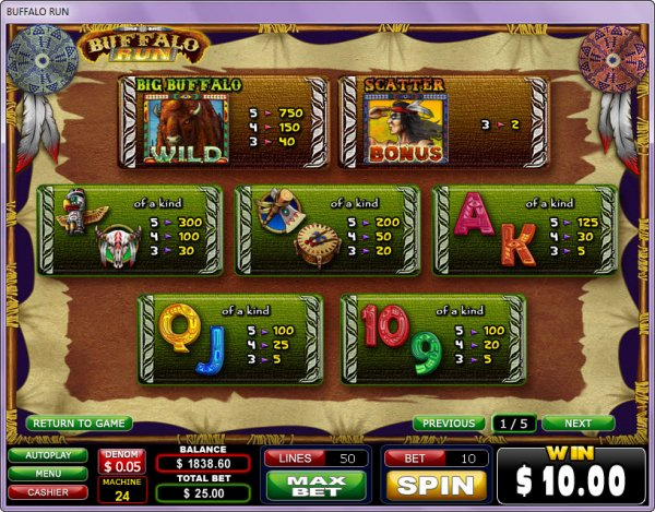 Buffalo Run Slots Pay Table