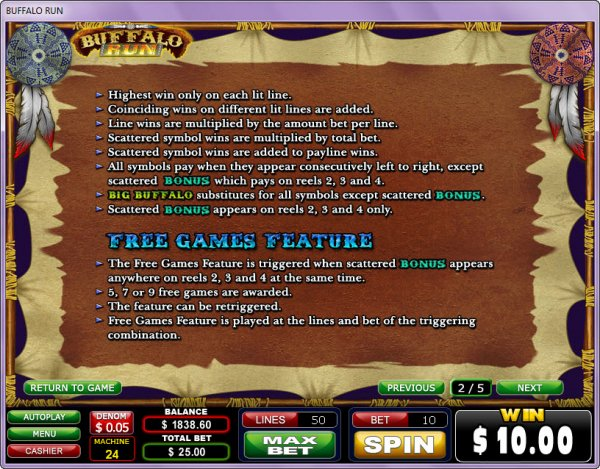 Buffalo Run Slots Feature Rules