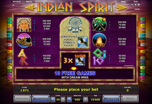 online internet casino indian spirit