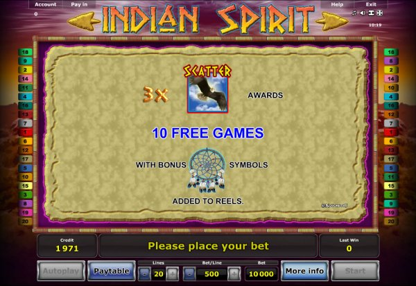 free online casino games indian spirit