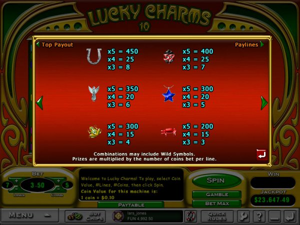 online casino slot lucky charm book