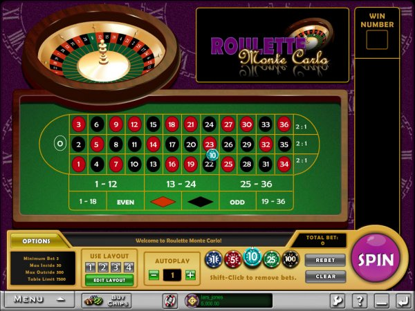 virtual roulette table