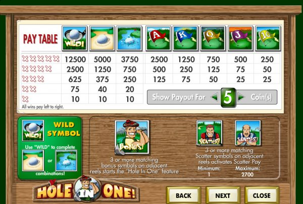 Hole in One Slots Pays