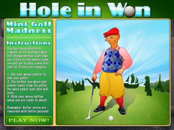 Start of golf bonus game in slot