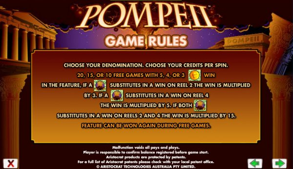 Pompeii Slots Game Rules