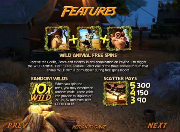 Safari Sam Slots Game Features