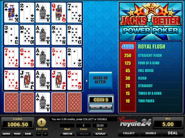 jacks or better power poker casino