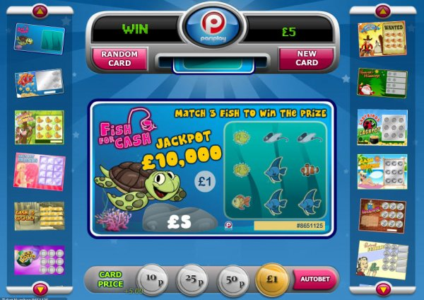 Fish for cash scratch card for Fish for cash