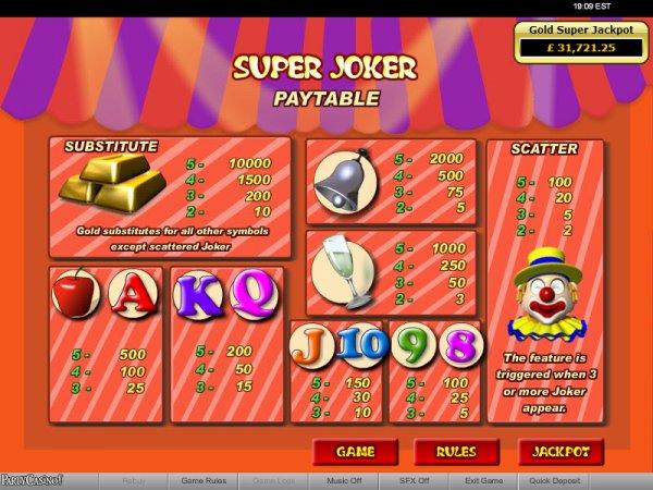 Super Joker Progressive Slots Pays