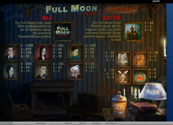 Full Moon Fever™ Slot Machine Game to Play Free in PartyGamings Online Casinos