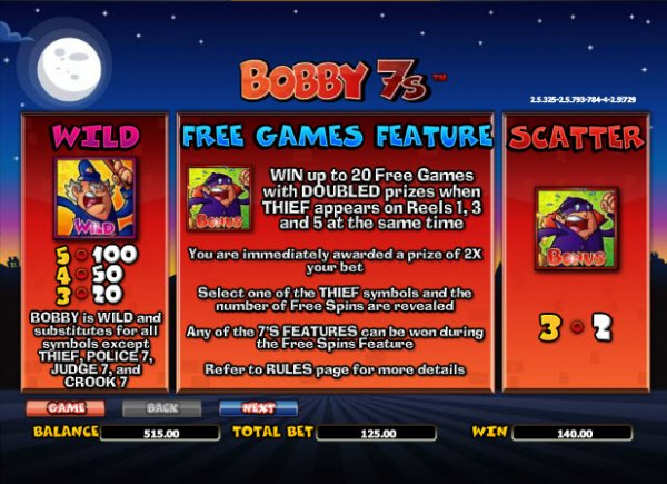 Bobby 7s™ Slot Machine Game to Play Free in NextGen Gamings Online Casinos