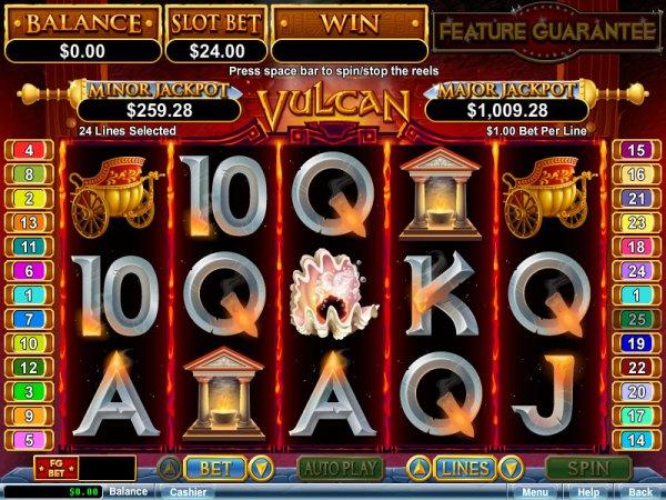Vulcan Slots Game Reels