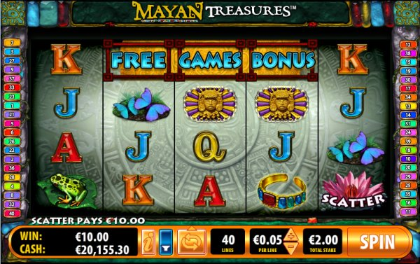Mayan Treasures Slot Game Reels