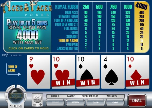 Aces and Faces Video Poker - Rival Style!