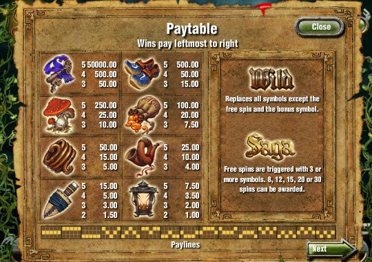 Saga Slot Pay Table