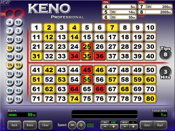 Keno online lottery result