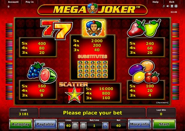 online game casino mega joker