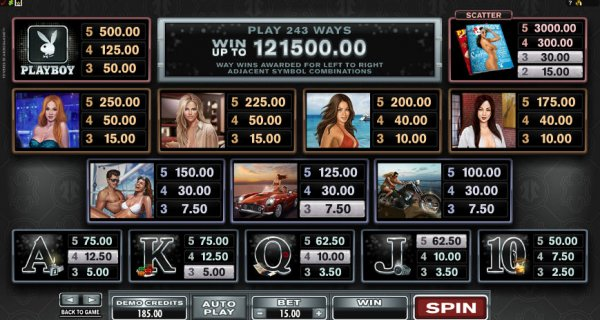 Playboy Slot Pay Table