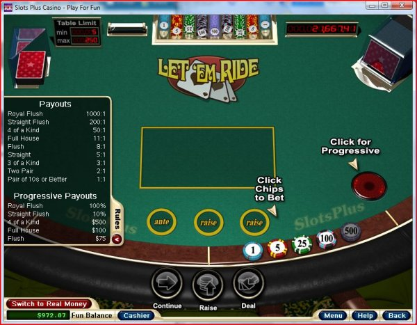 Payoff of Let Em' Ride Poker from RealTime Gaming