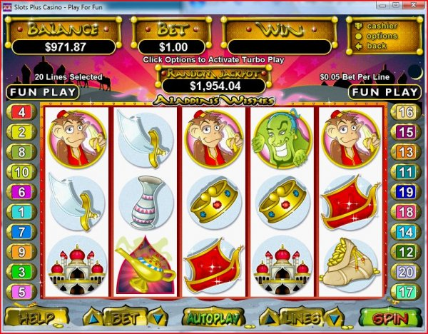 Screenshot of Aladdin's Wishes Slots by RealTime Gaming