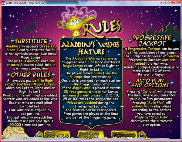 Rules of Aladdin's Wishes Slots by RealTime Gaming