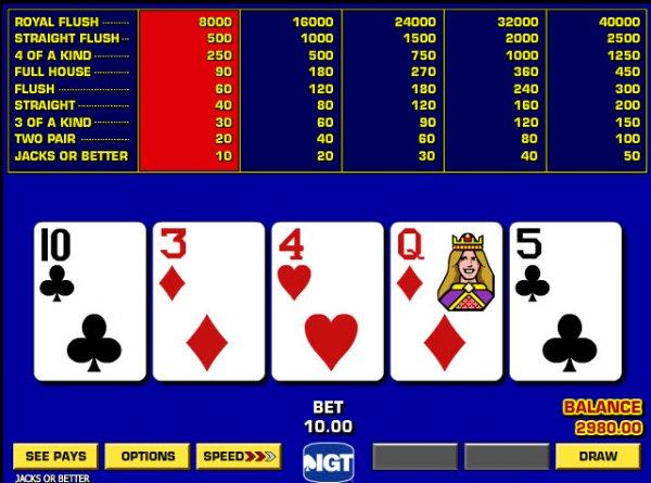 jacks or better free poker games