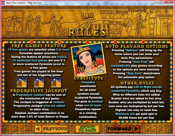 Rules of Cleopatra's Gold from RealTime Gaming