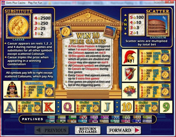 Paytable from Caesar's Empire Slots by RealTime Gaming