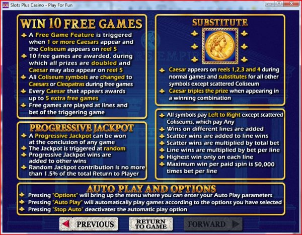Rules of Caesar's Empire Slots by RealTime Gaming