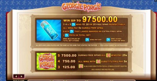 Georgie Porgie slot - spil gratis Microgaming spil online