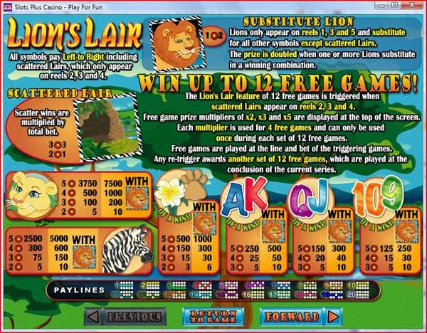 Lions Lair Slot - Play for Free Online at VegasSlotsOnline