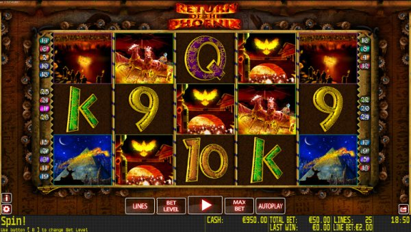 Return Of The Phoenix Slot Game Reels