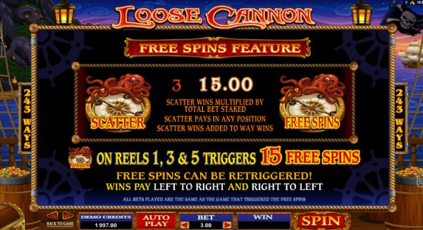 Loose Cannon Slot Game Feature