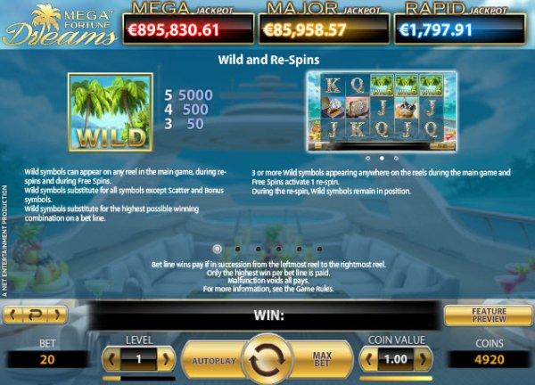 Mega Fortune Dreams Slot Wild and ReSpins
