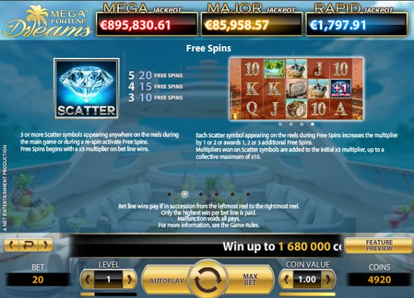 Mega Fortune Dreams Slot Bonus Game