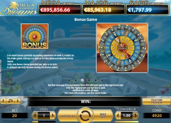 Mega Fortune Dreams Slot Pay Table