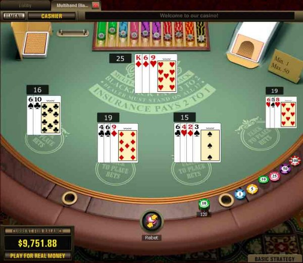 Screenshot of Multihand Blackjack from Top Game