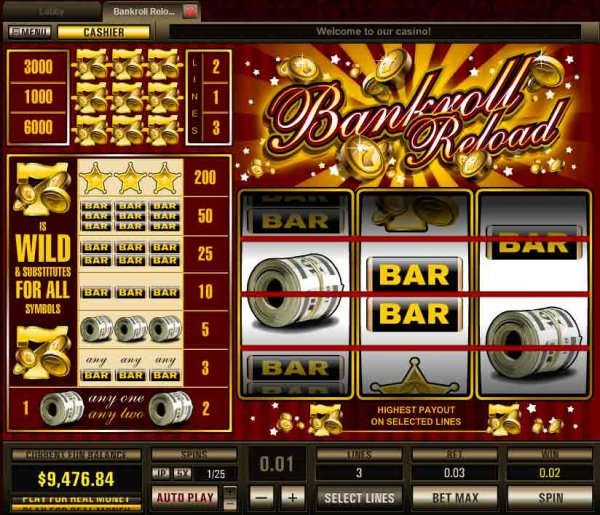 Bankroll Reload 5 Lines Slots - Play for Free & Win for Real