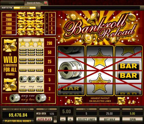 Bankroll Reload 3 Lines Slot - Play for Free Online Today