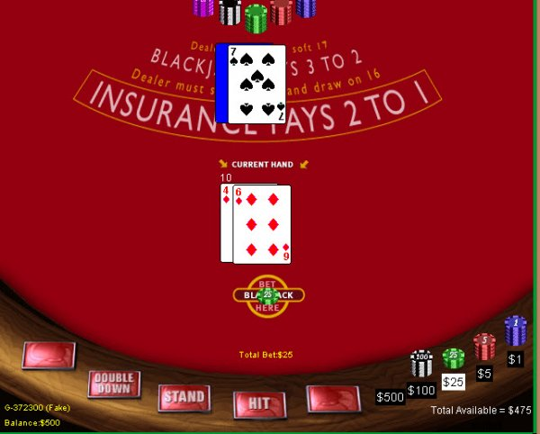 single hand blackjack