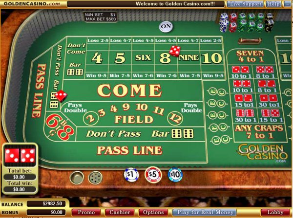Photo of the Craps table at Golden Casino