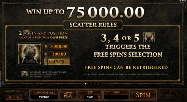 Game Of Thrones Slot Scatter Rules
