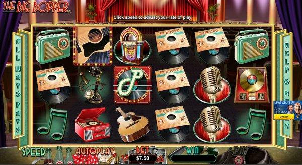 The Big Bopper Slot Game Reels