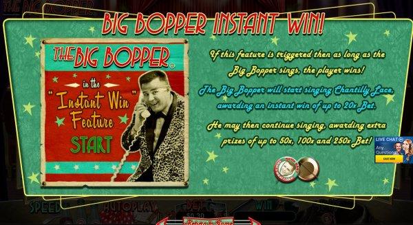 The Big Bopper Slot Instant Win Feature