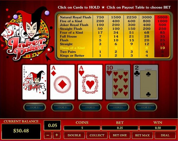 Play Joker Poker Videopoker Online at Casino.com NZ