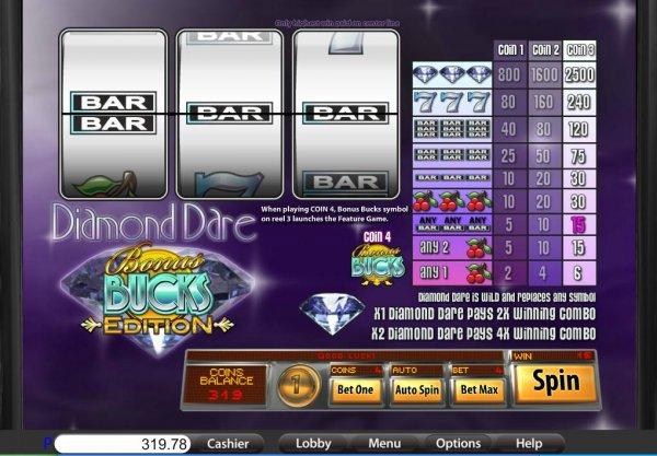 Diamond Dare Bonus Bucks Edition Online Slot - Play for Free